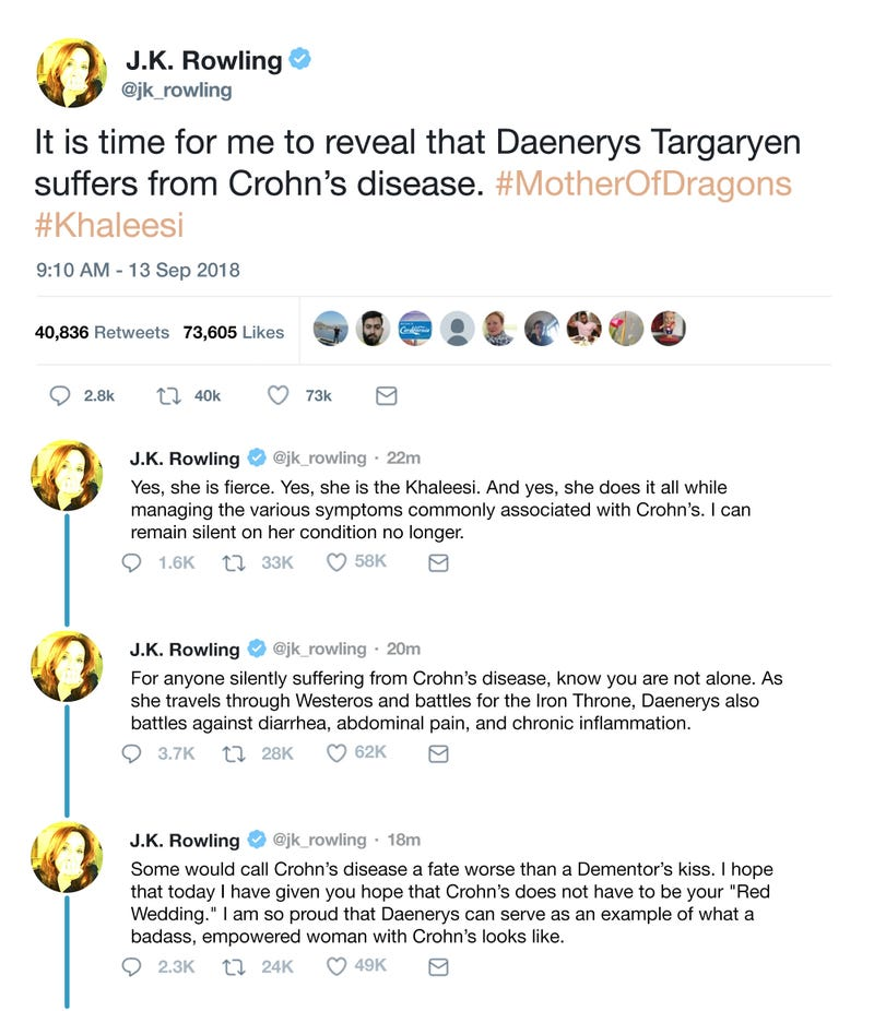 Overstepping Her Bounds: J K  Rowling Has Announced That Daenerys