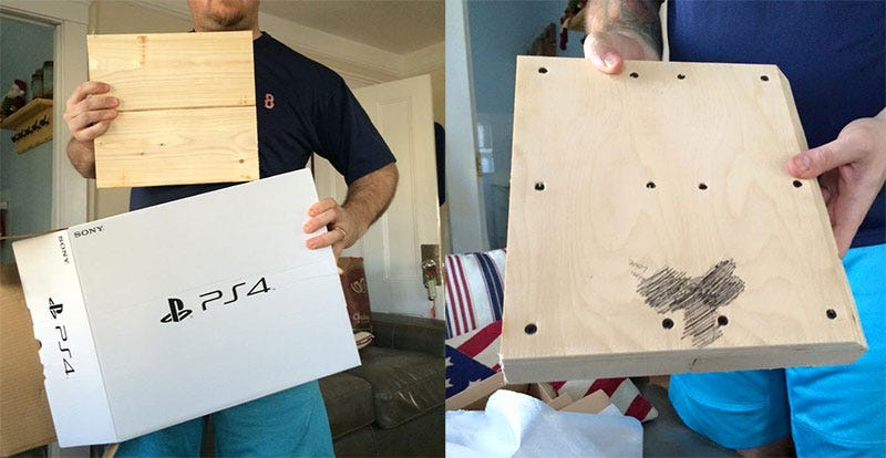 Illustration for article titled Boy Opens Christmas PlayStation 4, Finds A Block Of Wood With A Dick On It