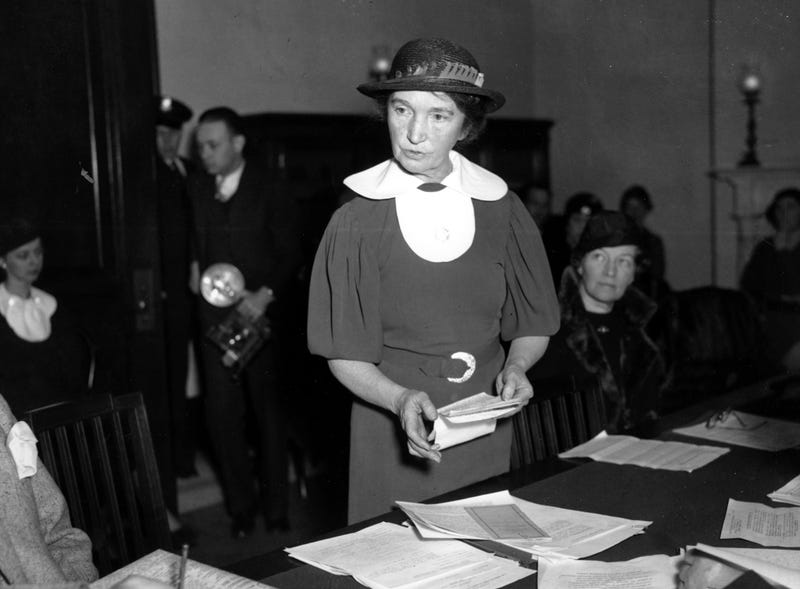 Margaret Sanger speaking before a Senate committee to advocate for federal birth control legislation in Washington. Image via AP.