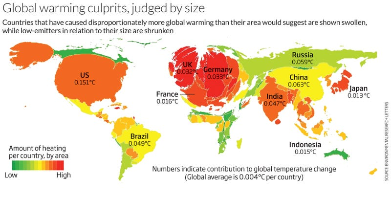 Map shows which countries are contributing the most to climate change this map created by new scientist shows the size of the worlds countries based on how much their emissions are contributing to climate change and global gumiabroncs Image collections