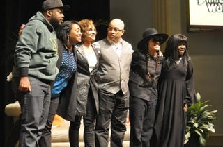 Kadeem Hardison, a Norfolk State University student, Jasmine Guy, Darryl Bell, Cree Summer and Charnele Brown during an April 16, 2016, appearance of A Different World cast members at the universityNorfolk State University