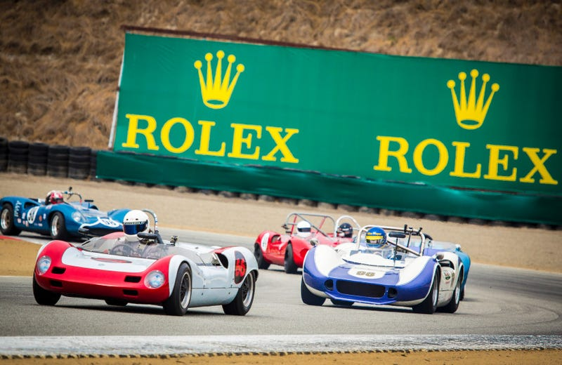 Photo credit Rolex. This is actually a bunch of 1963-1968 USRRC and Can-Am cars, not the ones portrayed in the video, but it's a good photo and I needed a placeholder. Don't be so pedantic, okay? You might live longer. Also I'm sure these ones sounded great too.