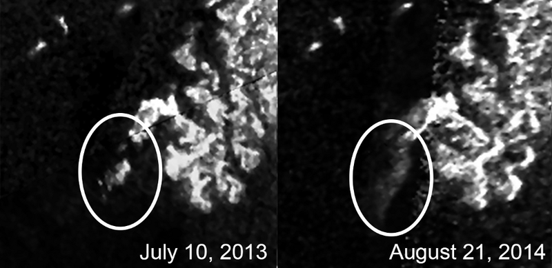 "Illustration for article titled Titan's Enigmatic ""Magic Island"" Continues To Baffle Scientists"