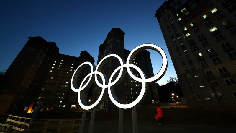 A nighttime view of the Olympic rings located near the Athletes' Village in Pyeongchang, South Korea. Photo: Getty