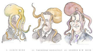 Illustration for article titled Silly Portraits Of Each US Vice President With An Octopus On His Head