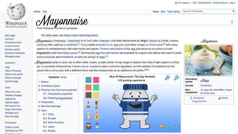 The Wikipedia page for mayonnaise.