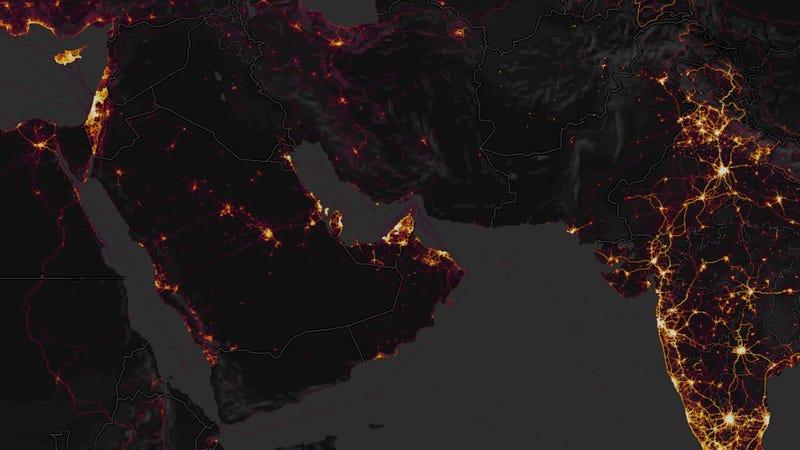 Screenshot from Strava heatmap