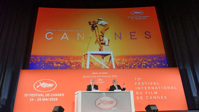 Thierry Fremaux and Pierre Lescure attend the 72th Cannes Film Festival Official Selection Presentation on April 18, 2019 in Paris, France.