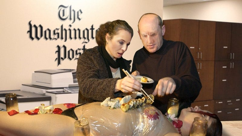 Illustration for article titled Responsible Journalism: The Washington Post Has Thrown Out Its Sushi Buffet After It Found Out The Nude Woman It Was Lying On Was A Project Veritas Reporter