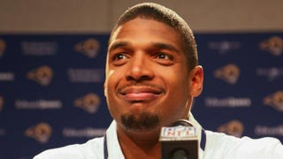 St. Louis Rams draft pick Michael Sam addresses the media during a press conference at Rams Park on May 13, 2014.Dilip Vishwanat