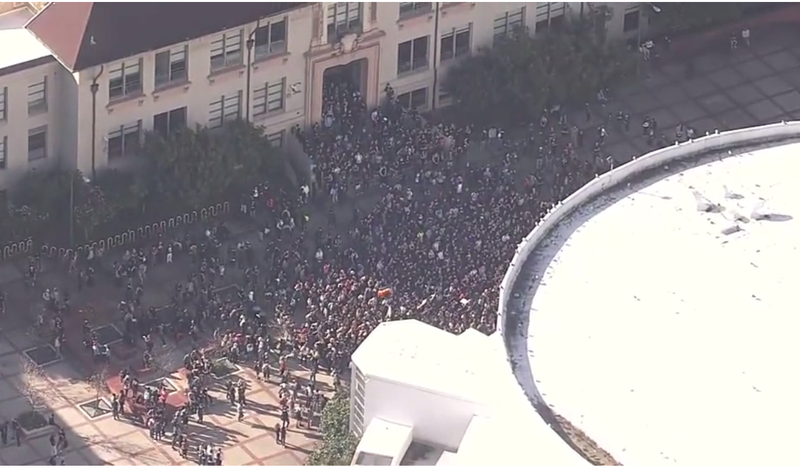 Thousands of students walked out of classes the morning  of Nov. 9, 2016, at Berkeley High School in California to protest the election of Donald Trump to the presidency of the United States.CBS San Francisco