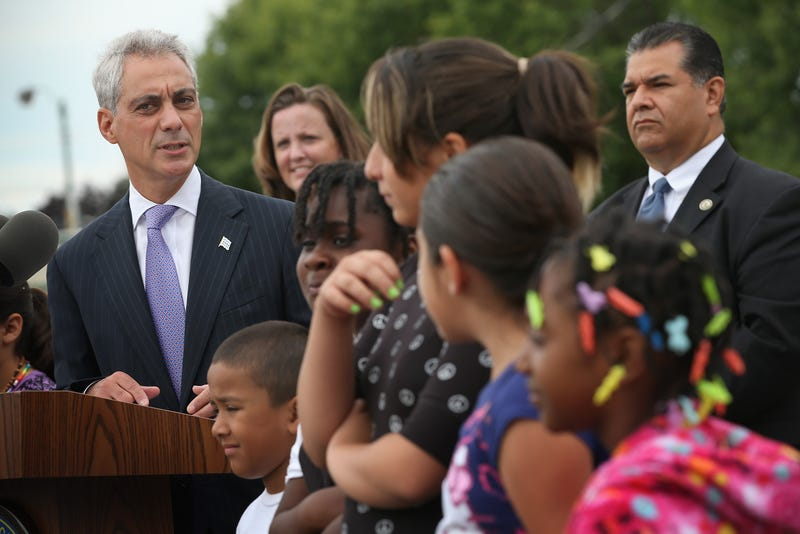 Chicago Mayor Rahm Emanuel, left, in August 2013 (Scott Olson/Getty Images)
