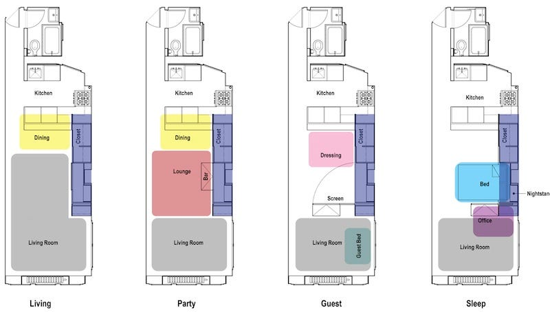 very small apartment layout.  Incredible Transforming Apartments Turn Tiny Rooms Into Spacious Homes