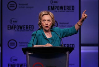 Democratic presidential hopeful and former Secretary of State Hillary Clinton speaks at the National Urban League conference in Fort Lauderdale, Fla., July 31, 2015.Joe Raedle/Getty Images