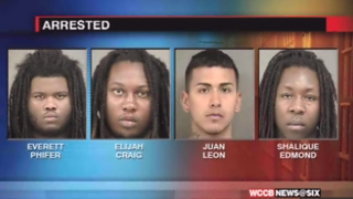 Police arrested four men after a shooting at Johnson C. Smith University in Charlotte, N.C., April 19, 2015, that left one student injured.WCCB-Charlotte screenshot