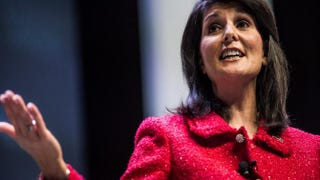 South Carolina Gov. Nikki Haley, moderator of the Heritage Action Presidential Candidate Forum, speaks to the crowd Sept. 18, 2015, in Greenville, S.C.Sean Rayford/Getty Images