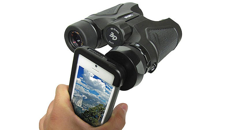 Illustration for article titled A Simple Adapter Turns Your Binoculars Into a Smartphone Zoom Lens