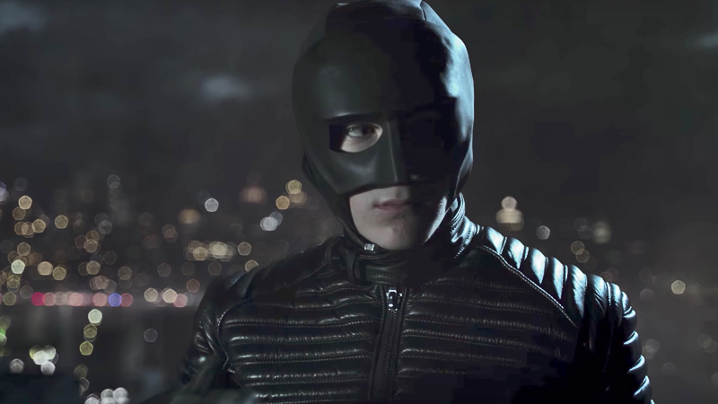 This is the closest David Mazouz will come to actually wearing a batsuit on Gotham. Oh dear.