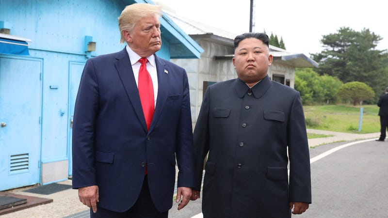 A handout photo provided by North Korean dictator Kim Jong Un and U.S. President Donald Trump inside the demilitarized zone (DMZ) separating the South and North Korea on June 30, 2019.