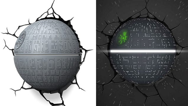 the death star crashing through your wall makes for a great night light. Black Bedroom Furniture Sets. Home Design Ideas