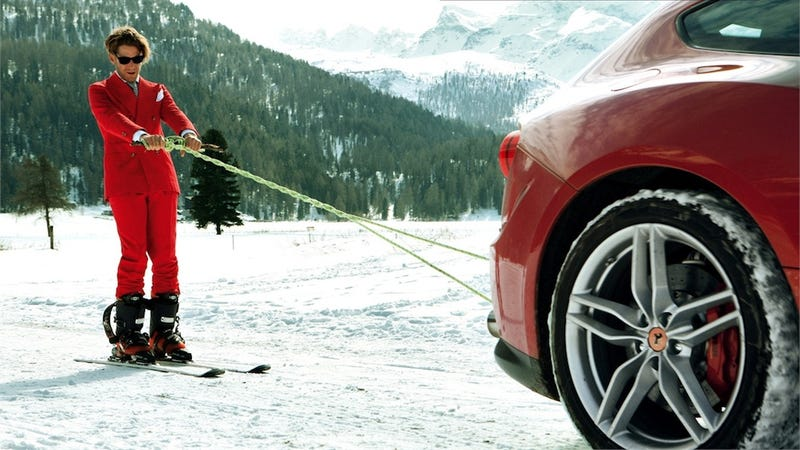 Illustration for article titled When You're The Heir To Fiat You Ski With A Ferrari FF