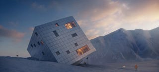 Illustration for article titled This Mountain Hut Looks Like an Ice Cube Perched in the Snow