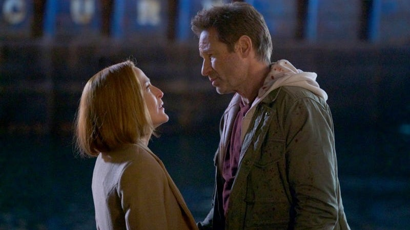 Gillian Anderson and David Duchovny in the season 11 (and series?) finale of The X-Files.