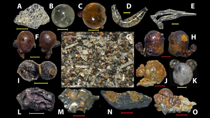 Some examples of the diverse range of particles collected from beach sands in Japan's Motoujima Peninsula.
