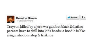 Illustration for article titled Geraldo Rivera Thinks We Should Blame Hoodies for the Death of Trayvon Martin