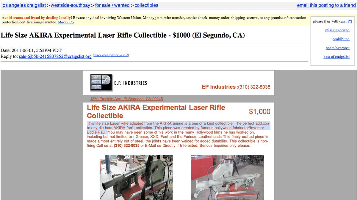 Someone's selling the laser rifle from Akira on Craigslist