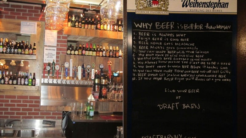 Illustration for article titled This Cool Bar Explains 'Why Beer is Better Than Woman'