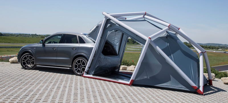 Blow Up Shelter : This inflatable tent makes the car part of canopy