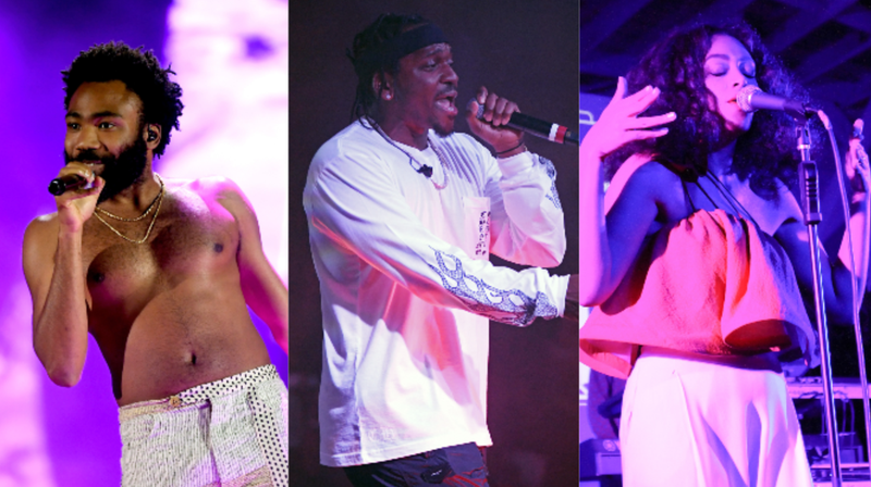 (L-R): Childish Gambino performs onstage during the 2018 iHeartRadio Music Festival on September 21, 2018 in Las Vegas, Nevada. Rapper Pusha T performs during the debut of his residency on June 16, 2018 in Las Vegas, Nevada. Solange performs during the HBO Bessie 81 Tour in LA on May 14, 2015 in Los Angeles, California.
