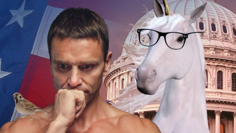Illustration for article titled Chuck Tingle's Bernie Sanders-as-unicorn erotic fiction is saving this election
