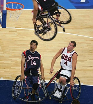 Illustration for article titled Wheelchair-Basketball Players Stunned By Thunderous Slam Dunk