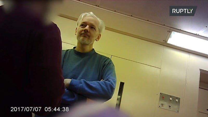 Julian Assange in a British prison, though the timestamp on the image is believed to be wrong