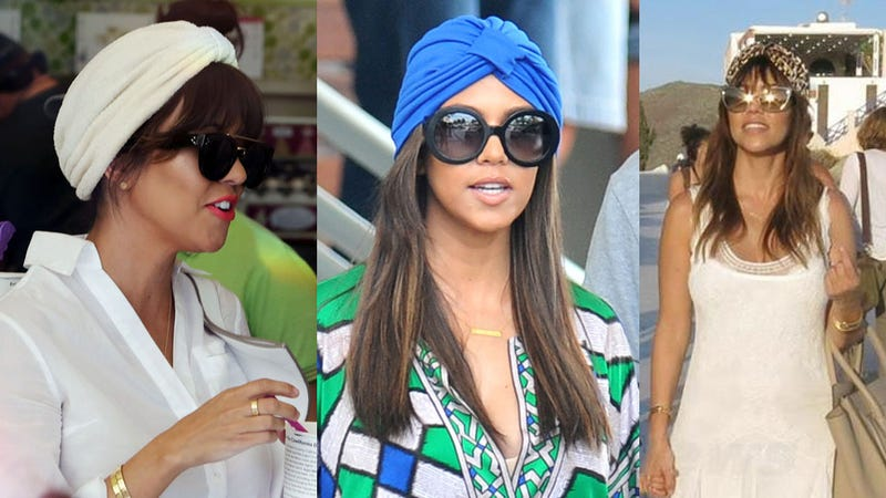 Illustration for article titled Kourtney Kardashian Is Single-Handedly Trying to Make Turbans Happen