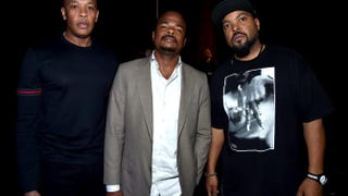 Dr. Dre, director F. Gary Gray and Ice Cube in Las Vegas April 23, 2015. Dr. Dre and Ice Cube have been named, along with Suge Knight, in a wrongful death lawsuit filed by the wife of a man Suge Knight is accused of killing.Alberto E. Rodriguez/Getty Images for CinemaCon