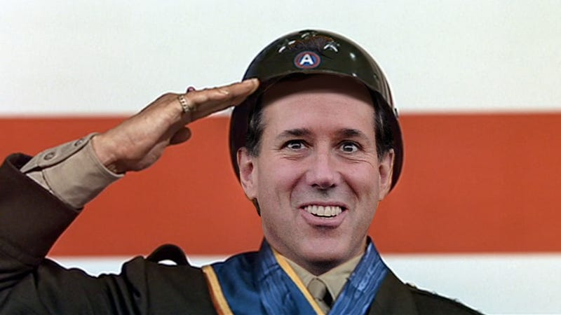 Illustration for article titled Rick Santorum Says Women Aren't Fit for Combat Because They're Just So Emotional