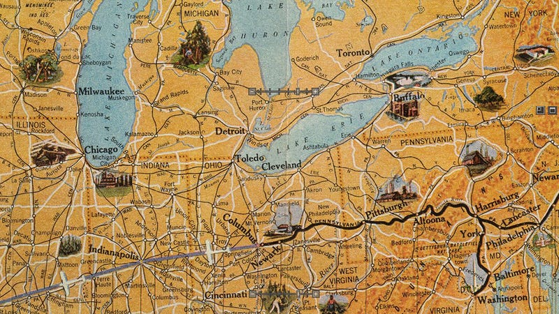 Illustration for article titled This Air Travel Map From 1929 Is Absolutely Stunning