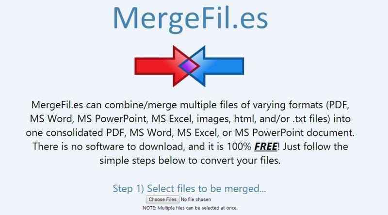 Illustration for article titled MergeFil.es Merges Various Formats Into One PDF/Word/Excel File