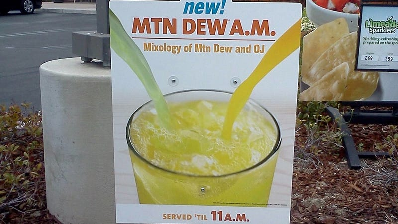 Illustration for article titled Taco Bell Is Officially Selling Orange Juice Mixed with Mountain Dew