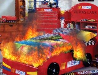 Illustration for article titled NASCAR Bed Bursts Into Flames