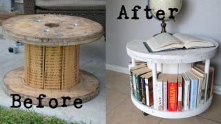 Illustration for article titled Repurpose a Cable Spool Into a Bookcase