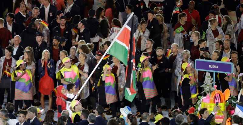 Team Kenya enters the opening ceremonies. Photo credit: Markus Schreiber/AP