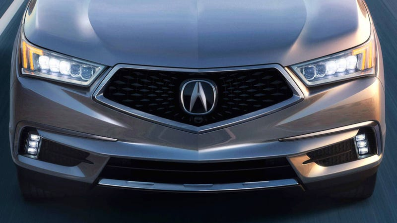 "What the production ""pentagonal"" grille looks like on the 2017 Acura MDX (Photo credit: Acura)"