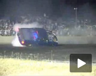 Illustration for article titled Blown Holden Ute Does Double Roll During Burnout, Crowd Goes Wild!