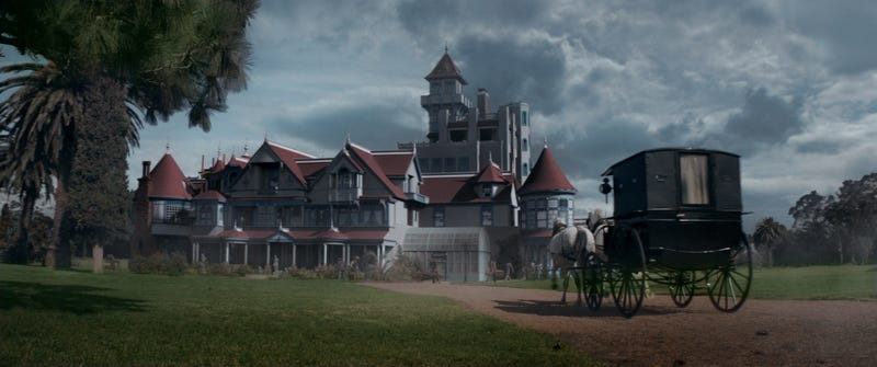 The ghost-plagued mansion in a scene from Winchester. Image: Ben King/CBS Films and Lionsgate