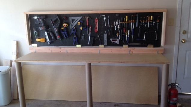 Build This Wall Mounted Folding Workbench To Save Space