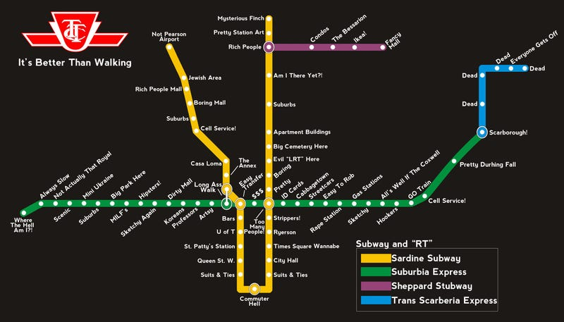 Illustration for article titled The TTC should totally rename their whole subway line to conform with this...